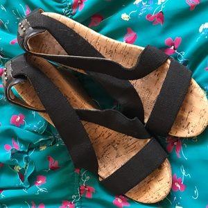 Shoes - Women's Black Elastic Strap Wedge Sandals